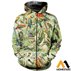 3D All Over Printed Bird Collection Shirts And Shorts Zipped Hoodie / Xs Clothes