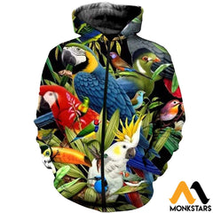 3D All Over Printed Birds Clothes Zipped Hoodie / Xs