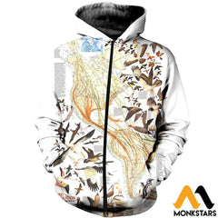 3D All Over Printed Birds Shirts And Shorts Zipped Hoodie / Xs Clothes