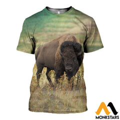 3D All Over Printed Bison T-Shirt Hoodie Scak160406 / Xs Clothes