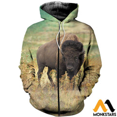 3D All Over Printed Bison T-Shirt Hoodie Scak160406 Zipped / Xs Clothes