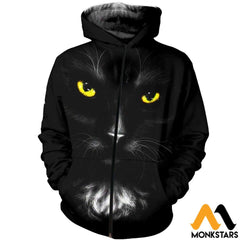 3D All Over Printed Black Cat T-Shirt Hoodie Saul170407 Zipped / Xs Clothes
