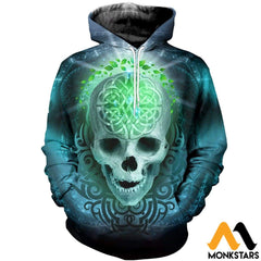 3D All Over Printed Blue Skull T-Shirt Hoodie Adum180404 Normal / Xs Clothes