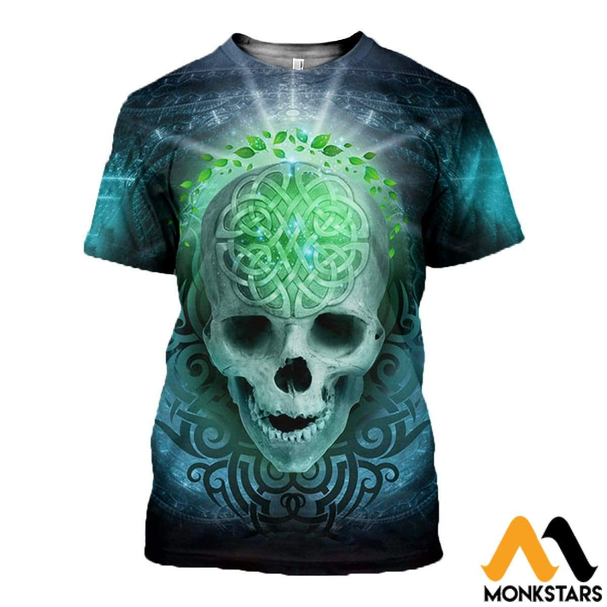 3D All Over Printed Blue Skull T-Shirt Hoodie Adum180404 / Xs Clothes