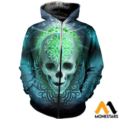 3D All Over Printed Blue Skull T-Shirt Hoodie Adum180404 Zipped / Xs Clothes