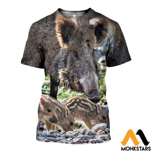 3D All Over Printed Boar And Deer Clothes T-Shirt / Xs