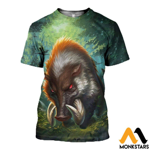 3D All Over Printed Boar Clothes T-Shirt / Xs