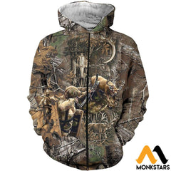 3D All Over Printed Bowhunting Deer Shirts And Shorts Zipped Hoodie / Xs Clothes