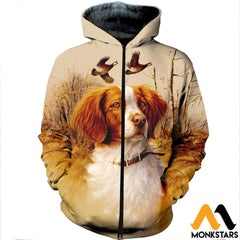 3D All Over Printed Brittany Spaniel Hunting Shirts And Shorts Zipped Hoodie / Xs Clothes