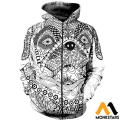 3D All Over Printed Bull Dog Mandala Shirts And Shorts Zipped Hoodie / Xs Clothes