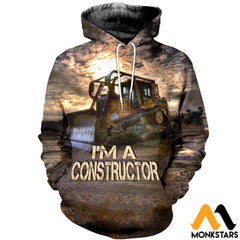 3D All Over Printed Bulldozer T-Shirt Hoodie Sagl160406 Normal / Xs Clothes