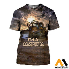 3D All Over Printed Bulldozer T-Shirt Hoodie Sagl160406 / Xs Clothes