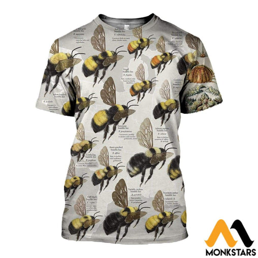 3D All Over Printed Bumble Bees Shirts And Shorts T-Shirt / Xs Clothes