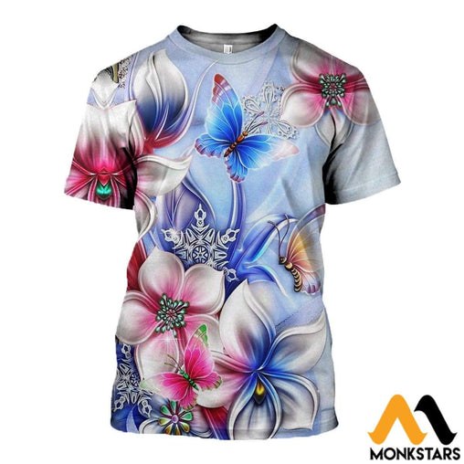 3D All Over Printed Butterflies And Flowers Clothes T-Shirt / Xs