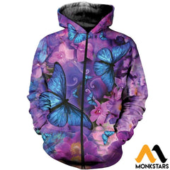 3D All Over Printed Butterflies Tops Zipped Hoodie / Xs Clothes