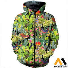 3D All Over Printed Cactus Clothes Zipped Hoodie / Xs