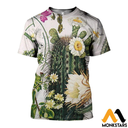 3D All Over Printed Cactus Flower Shirts And Shorts T-Shirt / Xs Clothes