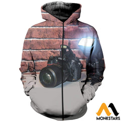 3D All Over Printed Camera Clothes Zipped Hoodie / Xs