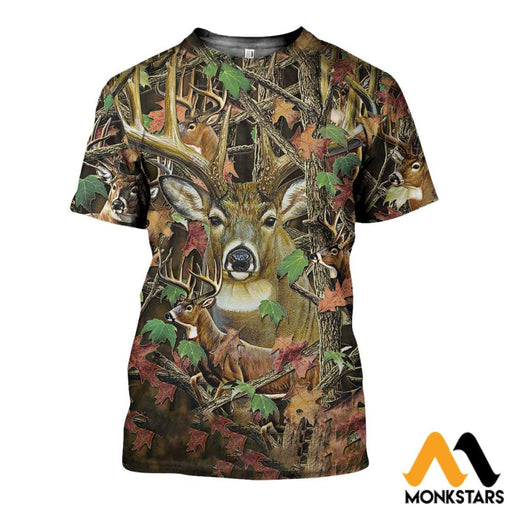3D All Over Printed Camo Deer Shirts And Shorts T-Shirt / Xs Clothes