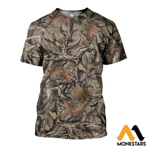 3D All Over Printed Camo Hunting Clothes T-Shirt / Xs
