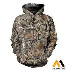3D All Over Printed Camo Hunting Clothes Zipped Hoodie / Xs
