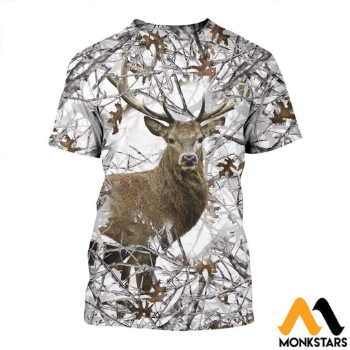 3D All Over Printed Camo Hunting Deer T-Shirt / Xs Clothes