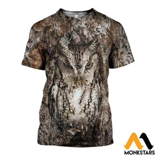 3D All Over Printed Camouflage Owl Art Shirts And Shorts T-Shirt / Xs Clothes