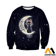 3D All Over Printed Cat And Moon Clothes Long-Sleeved Shirt / Xs