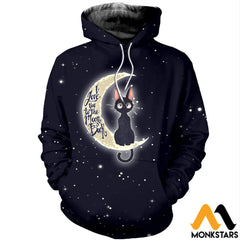 3D All Over Printed Cat And Moon Clothes Normal Hoodie / Xs