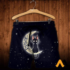 3D All Over Printed Cat And Moon Clothes Shorts / Xs