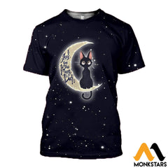 3D All Over Printed Cat And Moon Clothes T-Shirt / Xs