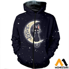3D All Over Printed Cat And Moon Clothes Zipped Hoodie / Xs