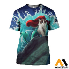 3D All Over Printed Cat - Mermaid T-Shirt Hoodie Attl070401 / Xs Clothes