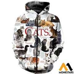 3D All Over Printed Cats Collection Shirts And Shorts Zipped Hoodie / Xs Clothes