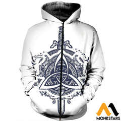 3D All Over Printed Celtic Dragons And Sword Clothes Zipped Hoodie / Xs