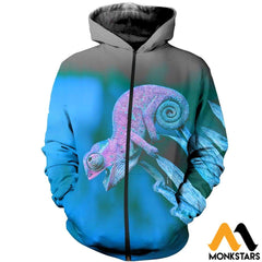 3D All Over Printed Chameleon T-Shirt Hoodie Aduk260402 Zipped / Xs Clothes