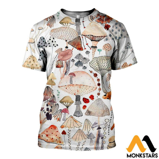 3D All Over Printed Champignon Watercolor Vintage Shirt T-Shirt / Xs Clothes
