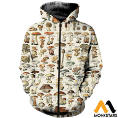 3D All Over Printed Champignons Clothes Zipped Hoodie / Xs