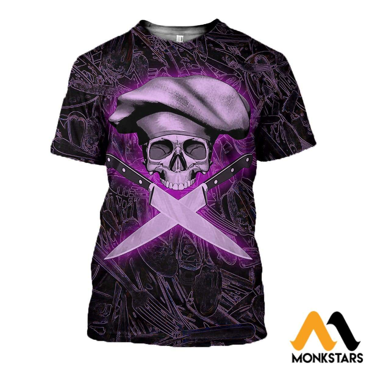 3D All Over Printed Chef Skull T-Shirt Hoodie Ahul090401 / Xs Clothes
