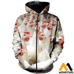 3D All Over Printed Chicken T-Shirt Hoodie Ahgk240403 Zipped / Xs Clothes