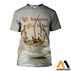 3D All Over Printed Coffee T-Shirt Hoodie Adal120414 / Xs Clothes