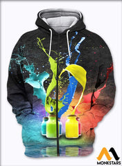 3D All Over Printed Color T-Shirt Hoodie St0L170406 Zipped / Xs Clothes