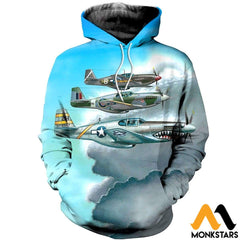 3D All Over Printed Combat Aircrafts Clothes Normal Hoodie / Xs