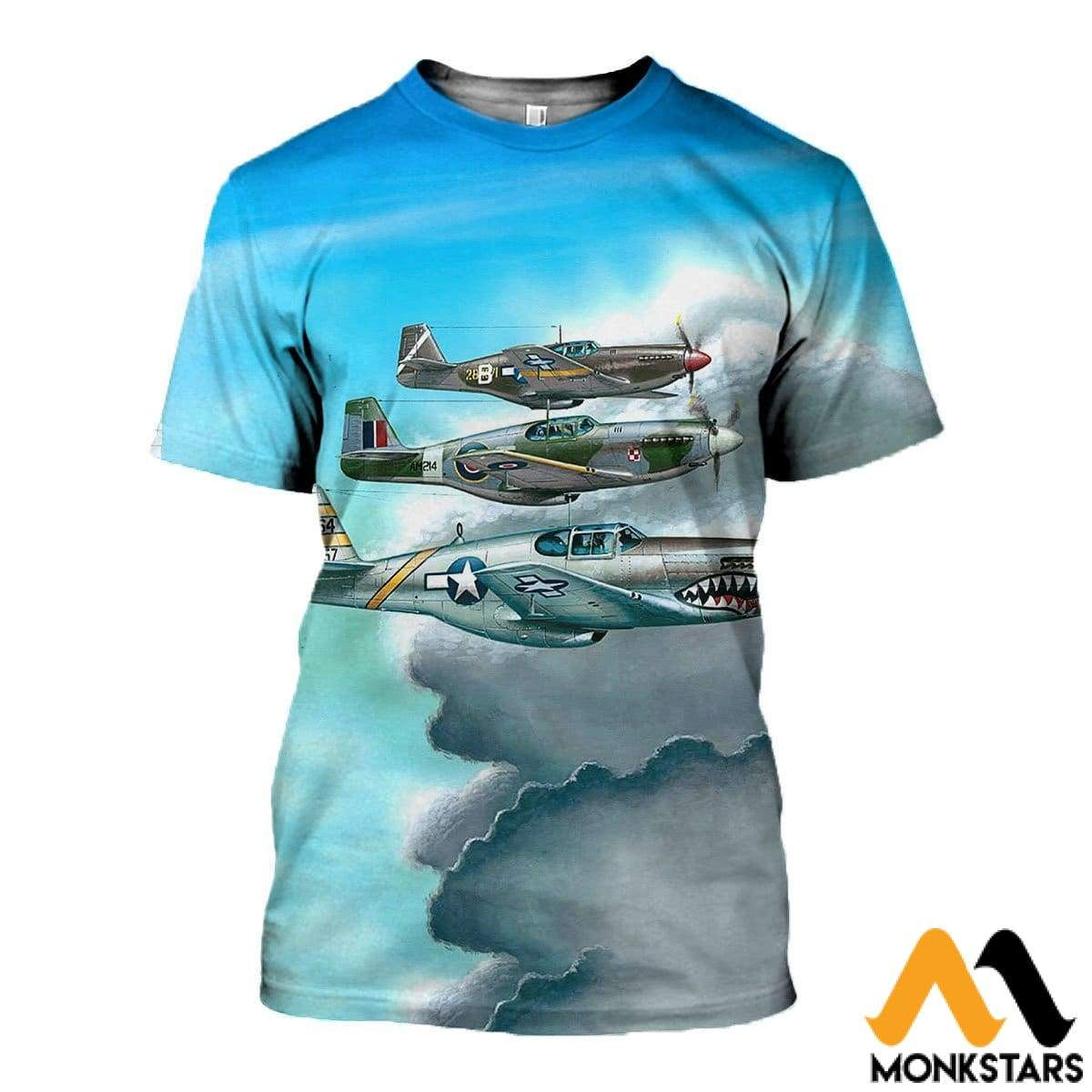 3D All Over Printed Combat Aircrafts Clothes T-Shirt / Xs