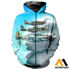 3D All Over Printed Combat Aircrafts Clothes Zipped Hoodie / Xs