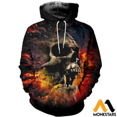 3D All Over Printed Cool Skull T-Shirt Hoodie Sctk060412 / Xs Clothes