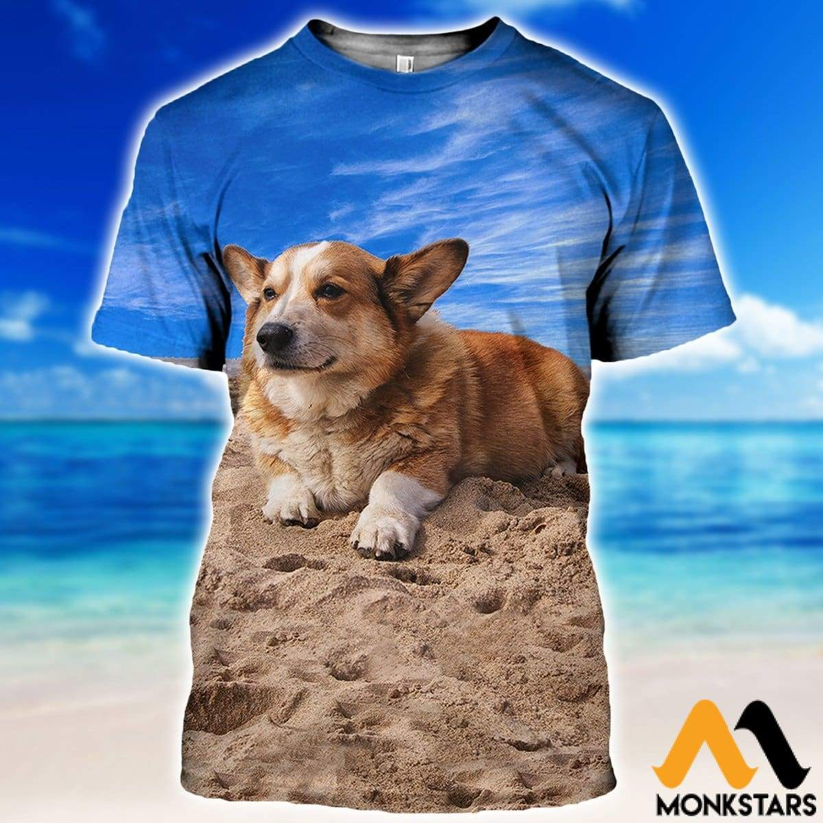 a770b96d39e1 3D All Over Printed Corgi T-shirt Hoodie SNTK230405 - Monkstars Inc.