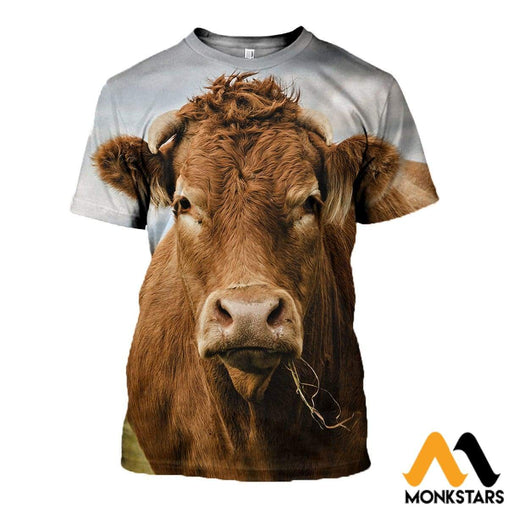 3D All Over Printed Cow Clothes T-Shirt / Xs