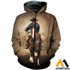 3D All Over Printed Cowboy Clothes Zipped Hoodie / Xs