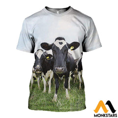 3D All Over Printed Dairy Cattle Shirts And Shorts T-Shirt / Xs Clothes